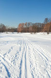 Winter pond in park. Direct ski track on pond ice in park royalty free stock photo