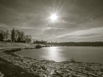 Winter pond with sun in vintage style Royalty Free Stock Images