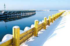 Winter port. Jetty (pier) of a winter Baltic port of Darlowo, Poland Stock Images