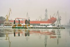 Winter in the port. Royalty Free Stock Photos