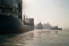 Winter in the port of Gdansk. Stock Photography