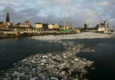 Winter at the Port of Hamburg  Stock Photo