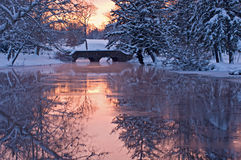 Winter Portage Nebenfluss Stockfotografie