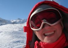 Winter portait of skier royalty free stock images
