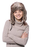 Winter portrait. Young girl in a winter hat Stock Photo