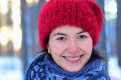 Winter portrait of young pretty female stock images