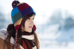 Winter portrait. Winter collection: winter portrait of beautiful young woman Royalty Free Stock Photos