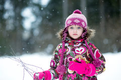 Winter portrait of adorable little girl Royalty Free Stock Images