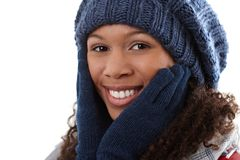 Winter portrait of attractive ethnic woman Royalty Free Stock Image