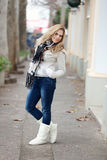 Winter Portrait of Beautiful Blond Young Woman Stock Photos