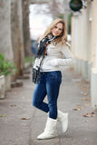 Winter Portrait of Beautiful Blond Young Woman Royalty Free Stock Photography