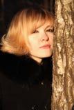 Winter portrait of a beautiful blonde Stock Photo