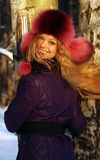 Winter portrait of a beautiful blonde Royalty Free Stock Photography