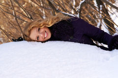 Winter portrait of a beautiful blonde Royalty Free Stock Image