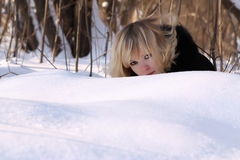 Winter portrait of a beautiful blonde Stock Photo