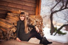 Russia, Moscow, Kolomenskoye park, winter photo session of a beautiful girl in the background of winter landscapes Stock Images