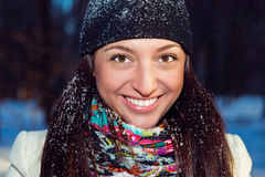 Winter portrait of a beautiful cheerful girl. Stock Images