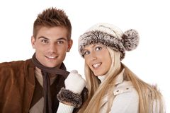 Winter portrait of beautiful couple Stock Image