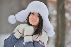 Winter portrait of beautiful girl Royalty Free Stock Photos