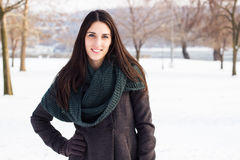 Winter portrait of beautiful girl Royalty Free Stock Images