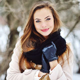 Winter portrait of a beautiful girl outdoor Royalty Free Stock Photo