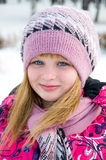 Winter portrait of the beautiful girl Stock Photo