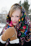 Winter portrait of the beautiful girl. Stock Photo