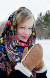 Winter portrait of the beautiful girl. Stock Image
