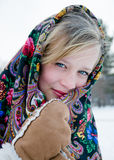 Winter portrait of the beautiful girl. Stock Images
