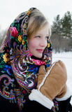Winter portrait of the beautiful girl. Royalty Free Stock Photography