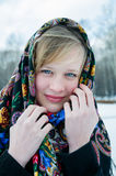 Winter portrait of the beautiful girl. Royalty Free Stock Photos