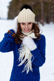 Winter portrait of beautiful happy woman Stock Photo