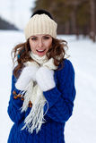 Winter portrait of beautiful happy woman Royalty Free Stock Photo
