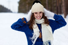 Winter portrait of beautiful happy woman Stock Image