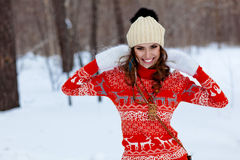 Winter portrait of beautiful happy woman Royalty Free Stock Images