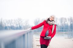 Winter portrait of beautiful pregnant woman Stock Images