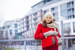 Winter portrait of beautiful pregnant woman Stock Photography