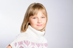 Winter portrait of a beautiful preteen girl. 8-10 years old. studio photoshoot Royalty Free Stock Images