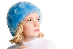 Winter portrait of beautiful preteen girl. Winter portrait of a beautiful preteen girl 9-11 years old with copy space isolated over white Royalty Free Stock Photo