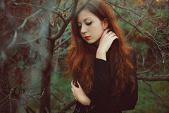 Winter portrait of a beautiful red hair woman royalty free stock images