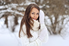 Winter portrait of beautiful smiling woman Royalty Free Stock Images