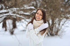 Winter portrait of beautiful smiling woman Stock Photography
