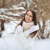 Winter portrait of beautiful smiling woman Stock Images