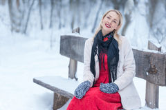 Winter portrait of beautiful smiling woman Stock Photos