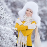 Winter portrait of beautiful smiling woman with snowflakes in white furs Stock Photos