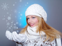 Winter portrait of a beautiful woman Stock Image