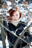 Winter portrait of a beautiful woman Royalty Free Stock Photos