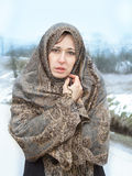 Winter portrait of a beautiful woman. At a very cold day Royalty Free Stock Photos