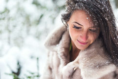 Winter portrait of a beautiful woman in fur coat outdoors. Royalty Free Stock Photos