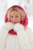 Winter portrait of beautiful woman. In pink scarf and white coat. Blonde lady with green eyes Royalty Free Stock Photo